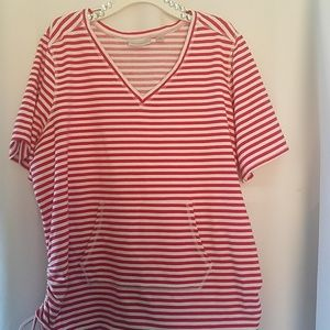 AVENUE STRIPED V NECK WITH FRONT POCKETS